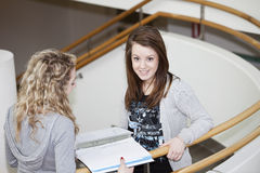 Two girls studying Royalty Free Stock Images