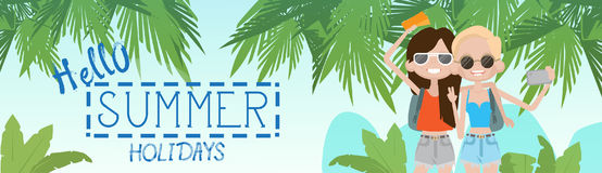 Two Girls On Summer Beach Vacation Concept Seaside Tropical Holiday Banner Stock Photo