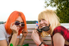 Two girls at the summer park Royalty Free Stock Photos