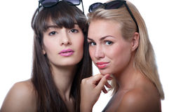 Two girls in sunglasses Royalty Free Stock Photography