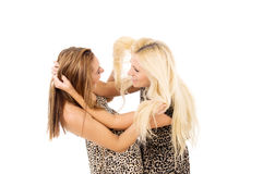Two girls swear Stock Images