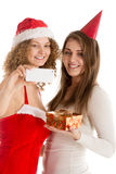 Two girls take selfie in cristmas costumes Royalty Free Stock Photos