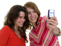 Two girls taking a photo of themselves Stock Photo