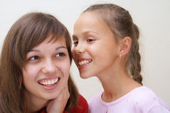 Two girls talking Royalty Free Stock Image