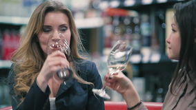 Two girls are talking and drinking a wine stock footage