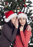 Two girls talking near xmas tree Royalty Free Stock Image
