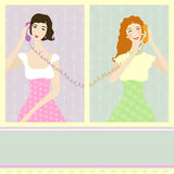 Two girls talking by phone Royalty Free Stock Photos