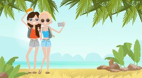 Two Girls Talking Selfie On Summer Beach Vacation Concept Seaside Tropical Holiday Banner. Flat Vector Illustration Royalty Free Stock Photo