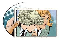 Two girls are talking.  Stock illustration. Stock illustration. People in retro style pop art and vintage advertising. Two girls are talking Stock Photo