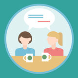 Two girls talking to each other. Flat design concept Stock Image