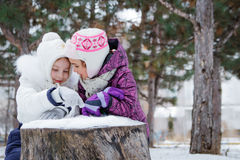 Two girls talking among winter park Royalty Free Stock Image