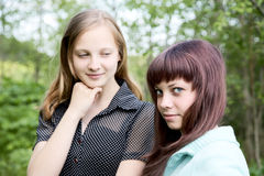 Two girls of the teenager in  spring afternoon Royalty Free Stock Photo