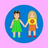two girls together forever vector illustration
