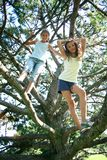 Two girls in tree Stock Photos