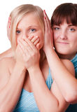 Two girls tstanding together Stock Photo