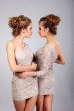 Two girls twins, isolated on the grey background Stock Photos