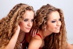 Two girls twins, isolated on the grey background royalty free stock image