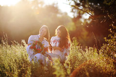 Two girls in Ukrainian national dress sitting on the grass. Girl Royalty Free Stock Image