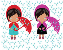Two girls under the umbrella Stock Image