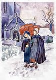 Two girls under umbrella vector illustration
