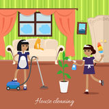 Two Girls in Uniform and Apron Make House Cleaning royalty free illustration