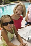 Two girls (7-9) using laptop with grandmother by swimming pool portrait. Royalty Free Stock Photos