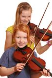 Two girls with violin Royalty Free Stock Image