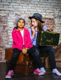 Two girls waiting for the train Stock Photography