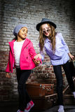 Two girls waiting for the train Royalty Free Stock Photography
