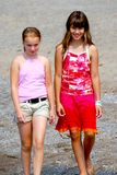 Two girls walking Royalty Free Stock Photography