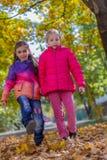 Two girls walking among autumn trees stock photo