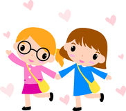 Two girls walking to school Stock Photos
