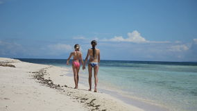 Two girls walking on a tropical beach. Happy sisters having fun walking on the tropical beach.Two young girls in swimsuit walking on tropical beach holding hands stock video