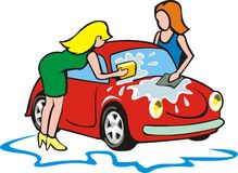 Two girls wash small car Royalty Free Stock Photography