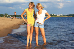 Two girls in the water. Stock Photo