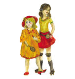 Two girls. Watercolor Royalty Free Stock Images