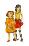 Two girls. Watercolor Royalty Free Stock Photography