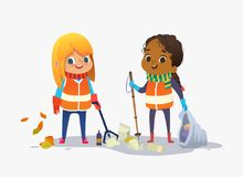 Two girls wearing unoform collect rubbish for recycling at park. Kids gathering plastic bottles and garbage for. Recycling. Boy throws litter into bin. Early royalty free illustration