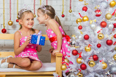 Two girls were talking about the Christmas tree Royalty Free Stock Photo