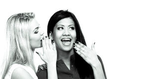 Two girls whispering and smiling Royalty Free Stock Photography
