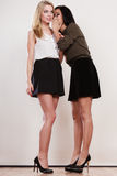 Two girls whispering and smiling Stock Photography