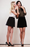 Two girls whispering and smiling Royalty Free Stock Images