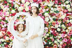 Two girls in white crowns Royalty Free Stock Photography