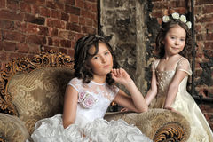 Two girls in white dresses Royalty Free Stock Image