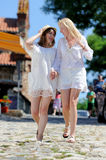 Two girls in white dresses Royalty Free Stock Photo