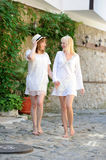 Two girls in white dresses Royalty Free Stock Photography