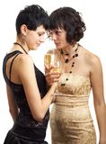 Two girls with wine Royalty Free Stock Images