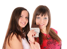 Two Girls With Chocolate Royalty Free Stock Photography