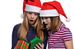 Two Girls With Christmas Present Stock Photography