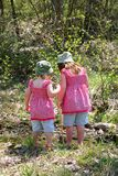 Two girls in woods Royalty Free Stock Photography